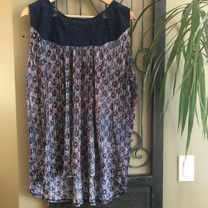 Lucky Brand Lace Crochet Pattern Tank Top PS 2X